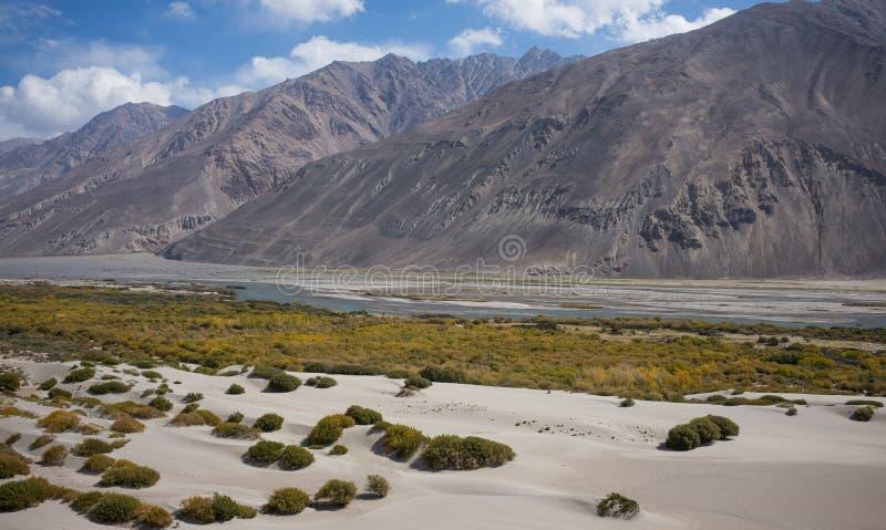 Rabatowa rzeczna Panj rzeka w Wakhan dolinie z Tajikistan i Afganistan, Piękna sceneria wzdłuż Roa zdjęcie stock