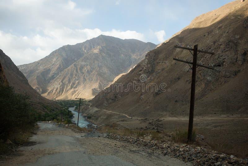 Rabatowa rzeczna Panj rzeka w Wakhan dolinie z Tajikistan i Afganistan Wycieczka samochodowa na Pamir autostradzie, Taji zdjęcie royalty free