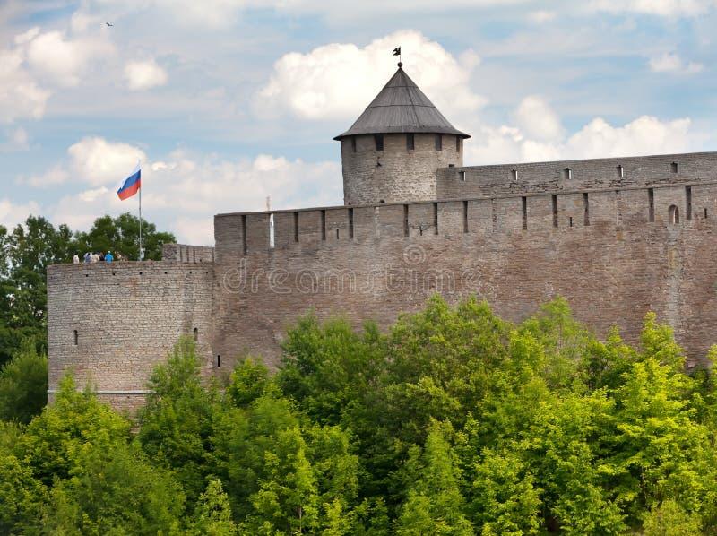 rabatowego dzień Estonia forteczny ivangorod krajobraz Russia pogodny obraz stock