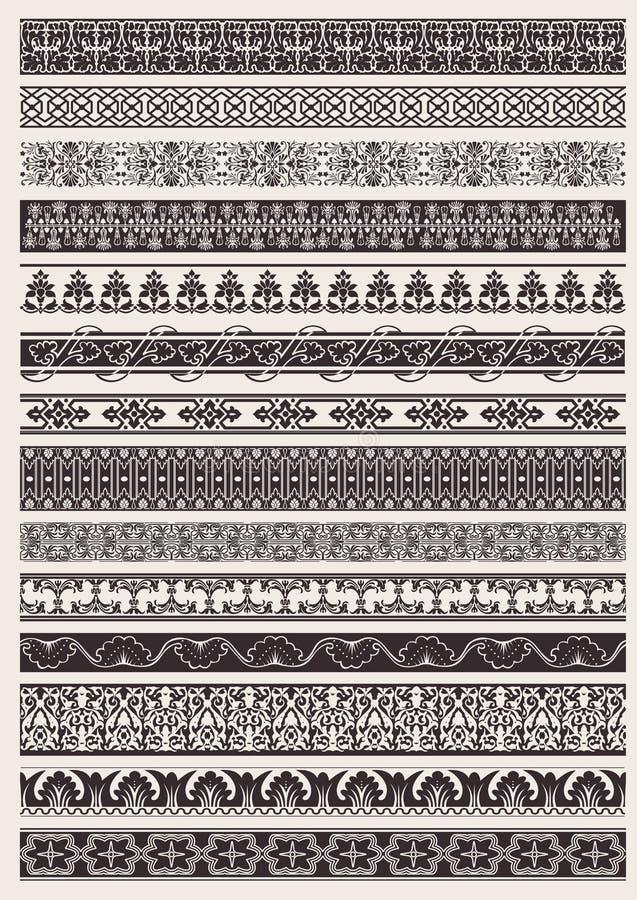 rabatowego elementu ozdobny bezszwowy set royalty ilustracja