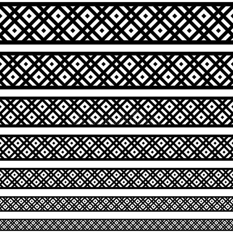 Rabatowi dekoracja elementów wzory w czarny i biały kolorach Geometrical etniczna granica w różnych rozmiarach ustawia kolekcje V ilustracja wektor