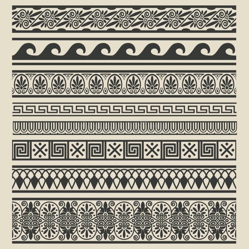 Rabatowy dekoracja set Greccy etniczni wzory royalty ilustracja