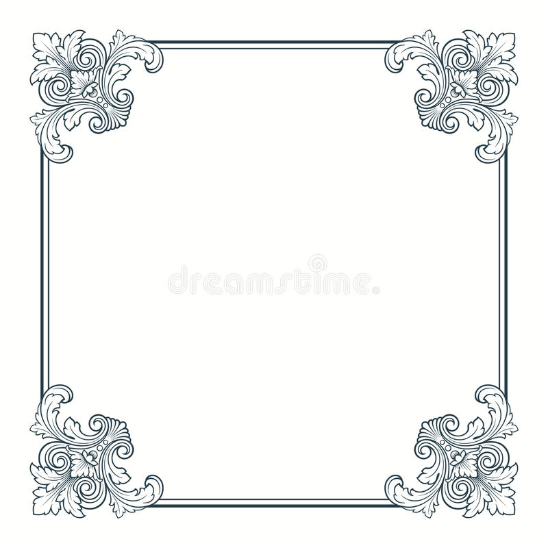 rabatowy kaligraficzny ramowy ozdobny wektorowy rocznik ilustracja wektor