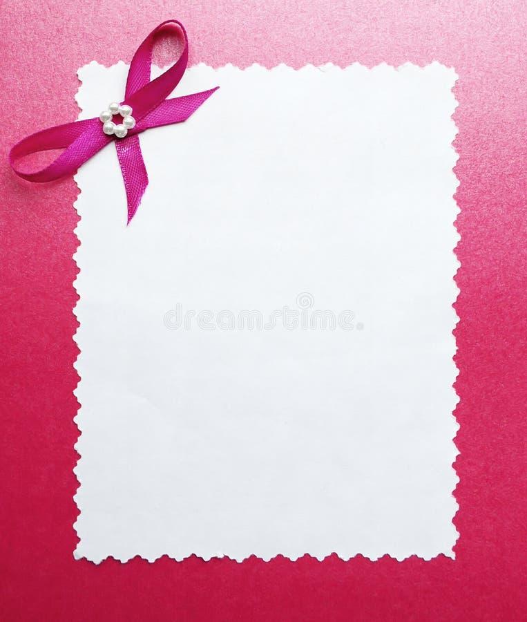 rabatowy karcianej ramy papieru fotografii ślub fotografia royalty free