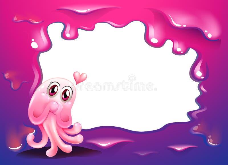 Rabatowy projekt z różowym ośmiornica potworem royalty ilustracja