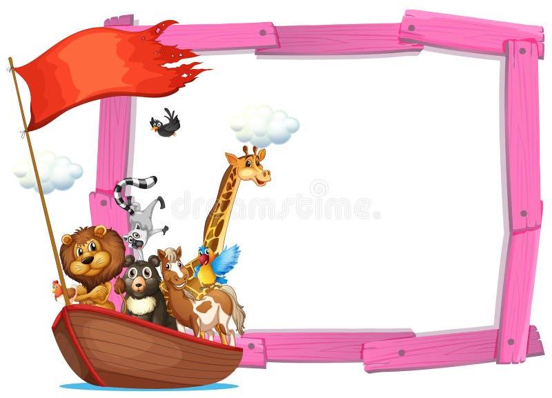 Rabatowy szablon z ślicznymi zwierzętami na łodzi ilustracja wektor