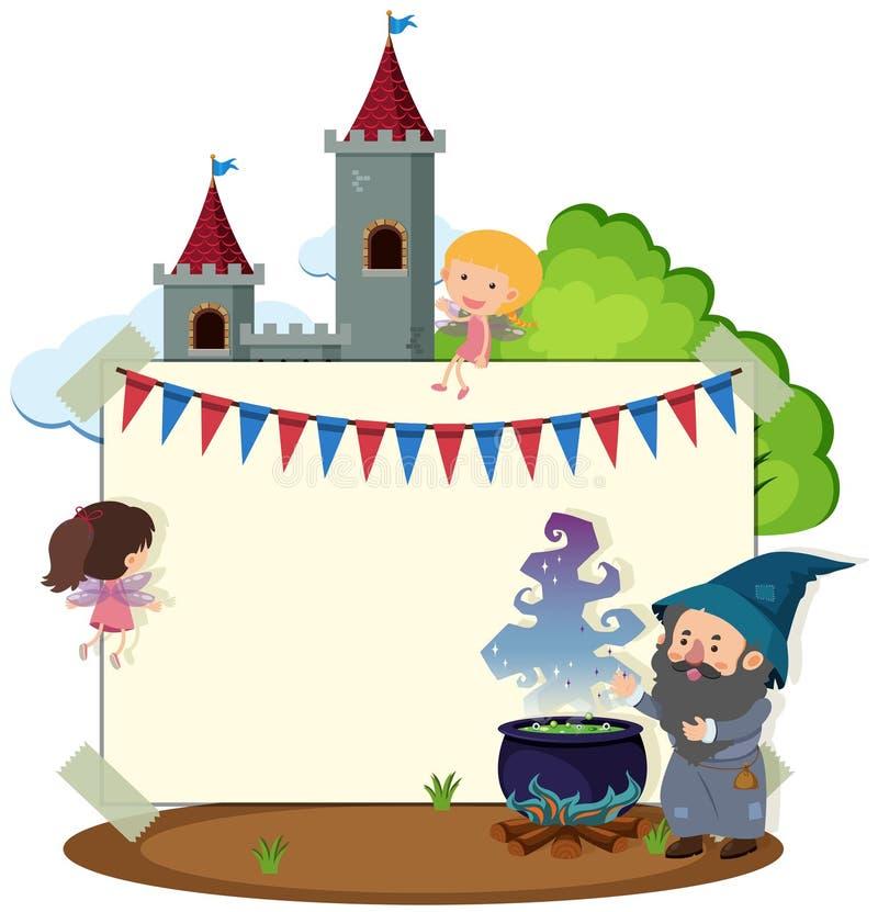 Rabatowy szablon z czarownikiem i czarodziejkami ilustracji