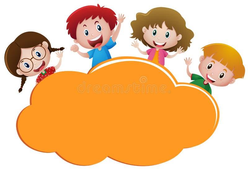 Rabatowy szablon z cztery szczęśliwymi dzieciakami royalty ilustracja