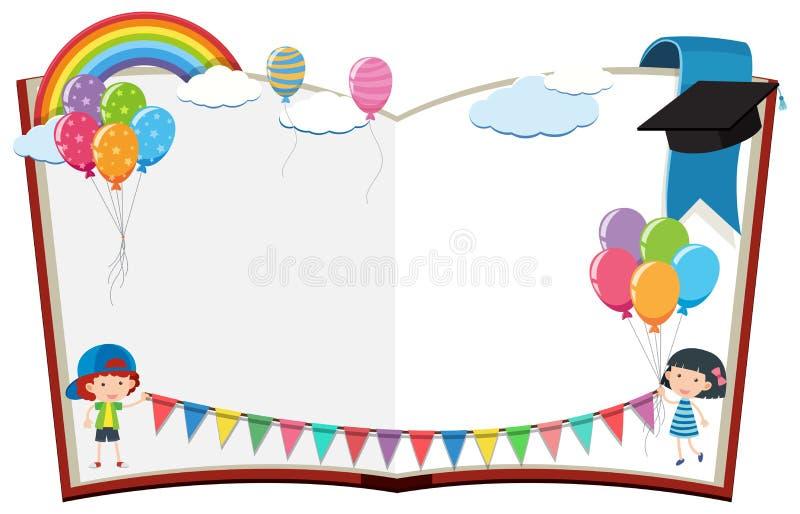 Rabatowy szablon z dzieciakami i flaga ilustracji