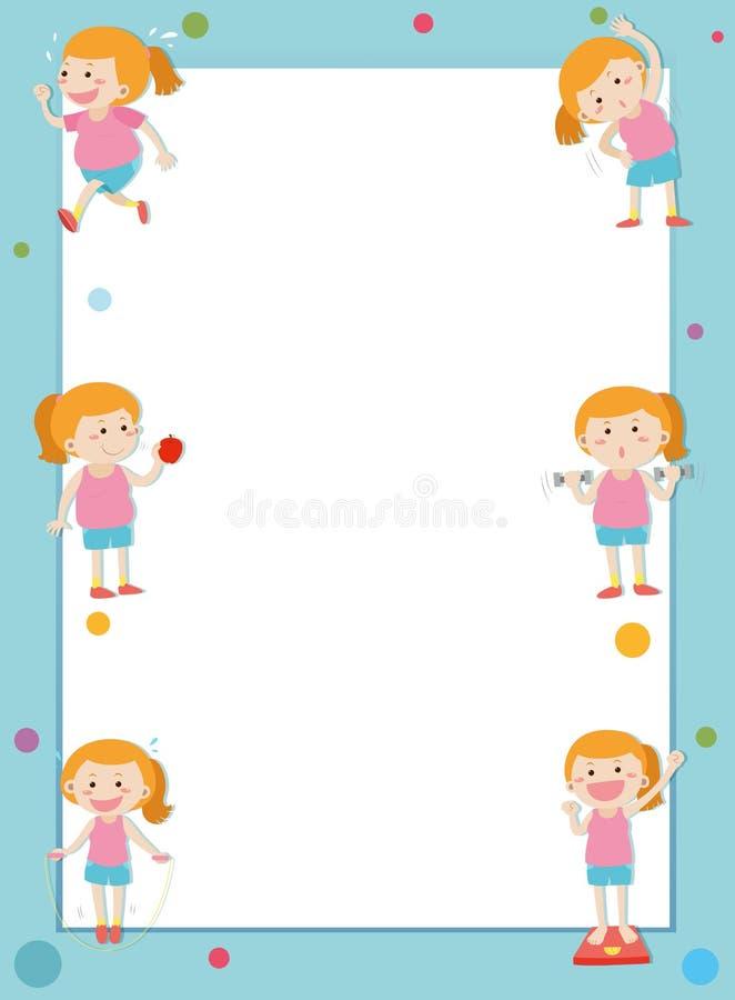 Rabatowy szablon z dziewczyny przegrywania ciężarem ilustracji