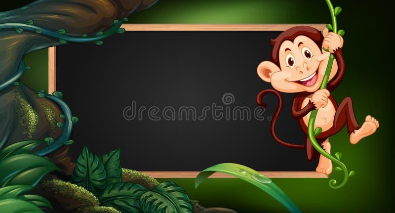 Rabatowy szablon z małpą na winogradzie ilustracji
