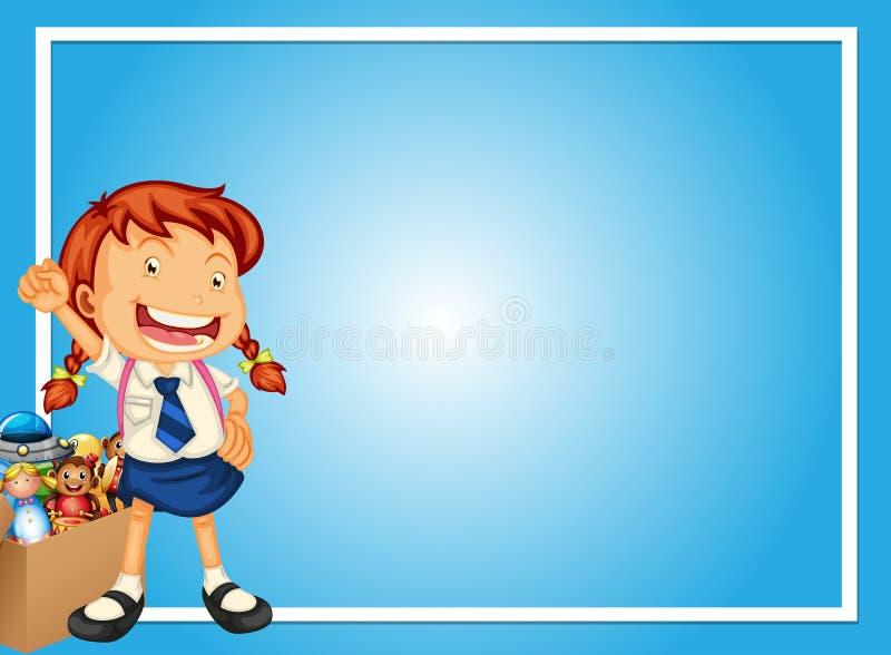 Rabatowy szablon z szczęśliwą dziewczyną i zabawkami ilustracji