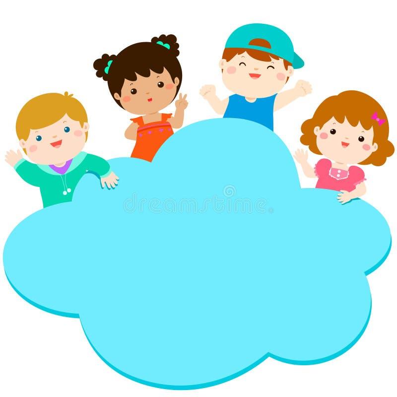 Rabatowy szablon z szczęśliwymi dzieciakami ilustracja wektor