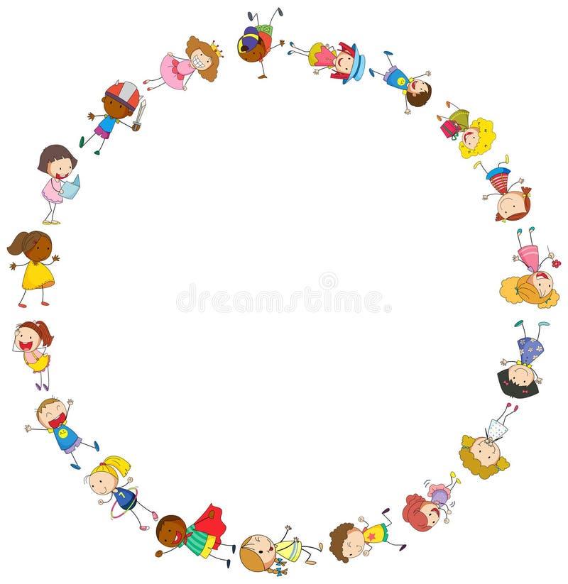 Rabatowy szablon z szczęśliwymi dzieciakami w okręgu ilustracji