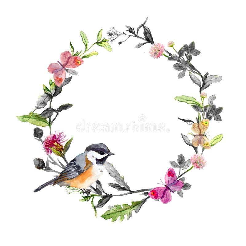 Rabatowy wianek - ptak, łąkowi kwiaty, motyle Czarny biały akwarela okrąg fotografia stock
