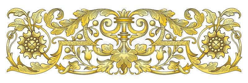 rabatowy złocisty ornament ilustracja wektor