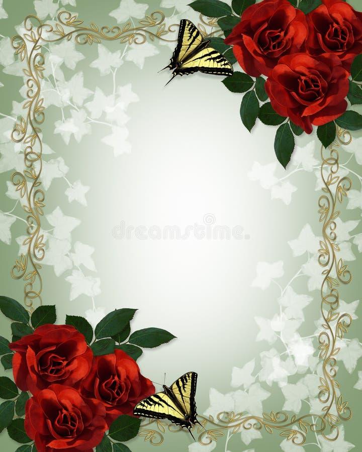 rabatowych motyli kwiecisty czerwony róż target282_1_ royalty ilustracja