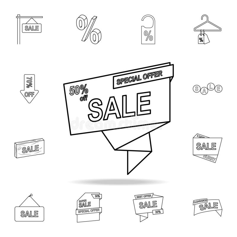 Rabatt 50 auf Bandikone Ausführlicher Satz Räumungsverkaufikonen Erstklassiges Grafikdesign Eine der Sammlungsikonen für Website, stock abbildung