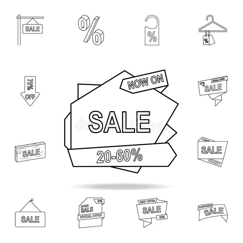 20-50 Rabatt auf der Bandikone Ausführlicher Satz Räumungsverkaufikonen Erstklassiges Grafikdesign Eine der Sammlungsikonen für stock abbildung