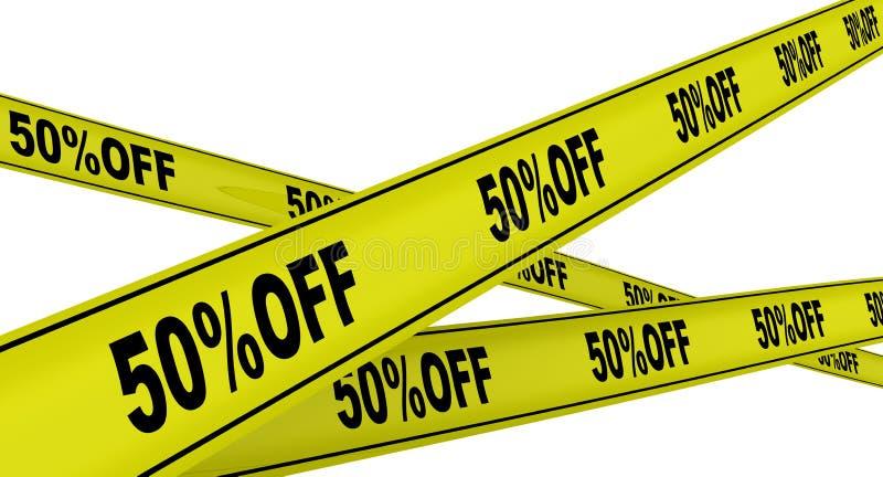 Rabatt av femtio procent M?rkta gula varnande band royaltyfri illustrationer