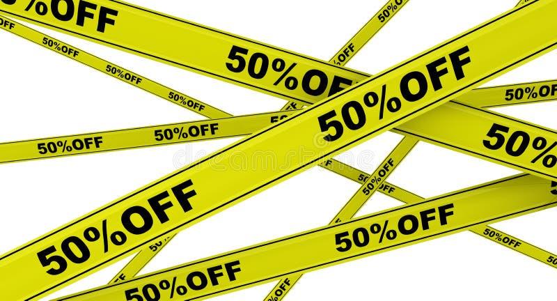 Rabatt av femtio procent M?rkta gula varnande band vektor illustrationer