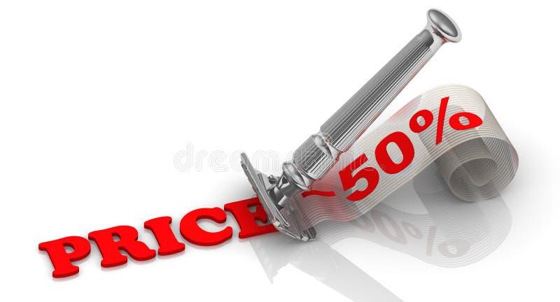 Rabatt av femtio procentsats finansiellt begrepp stock illustrationer