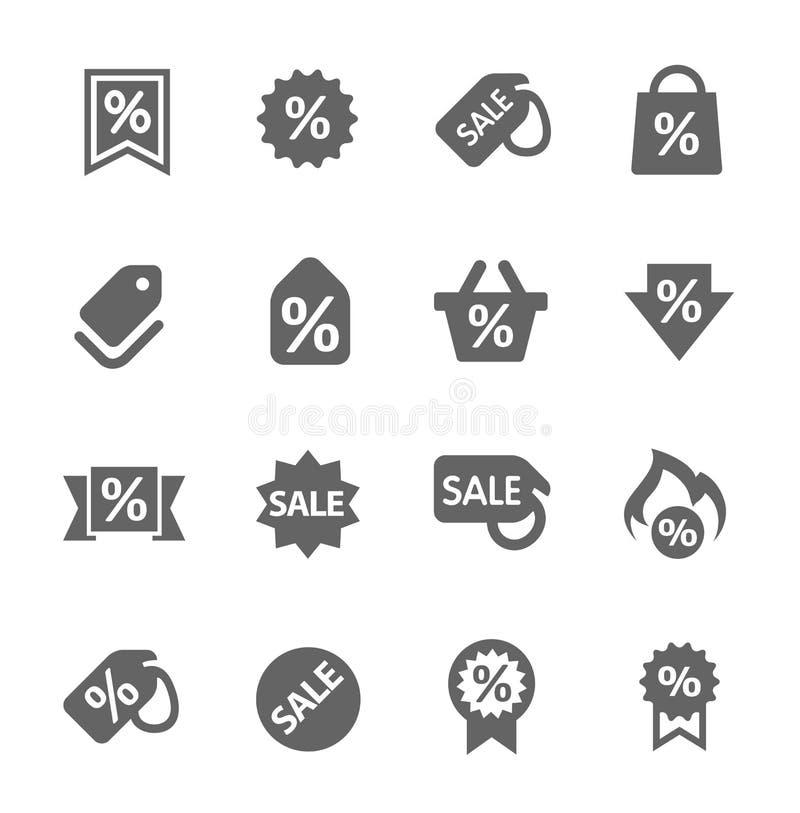 Rabatt etikettiert Ikonen stock abbildung