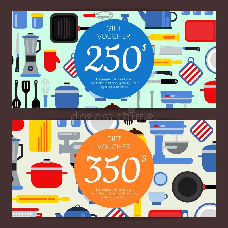 Rabatt för köksgeråd för vektorlägenhetstil stock illustrationer