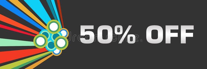 Rabatt femtio procent av mörkt färgrikt horisontal royaltyfri illustrationer
