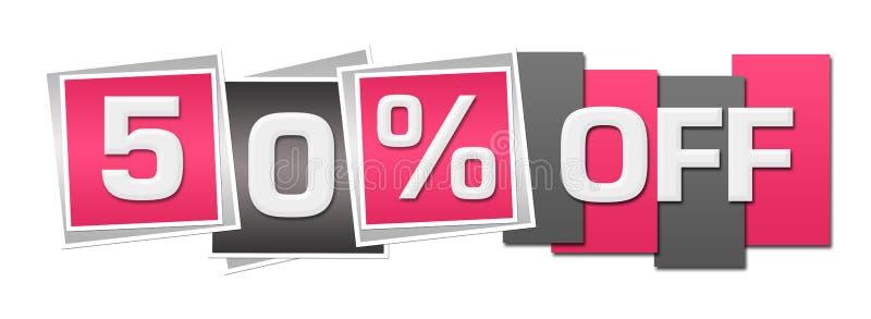 Rabatt femtio procent av rosa Grey Stripes Squares vektor illustrationer