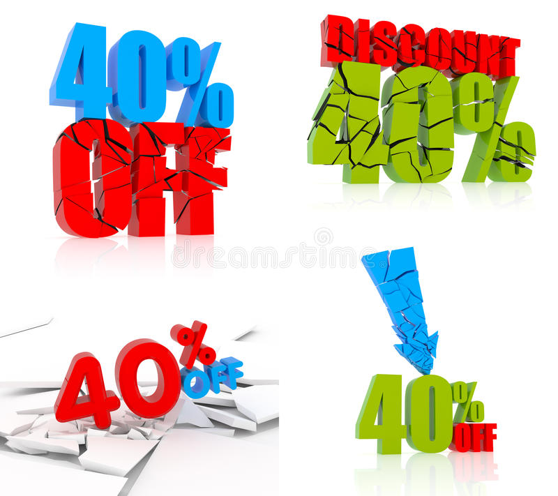 40% Rabatt-Ikonensatz lizenzfreie abbildung