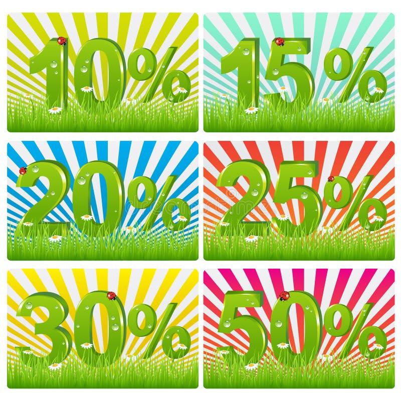 Rabatt-Karten mit grünen Abbildungen. Vektor lizenzfreie abbildung