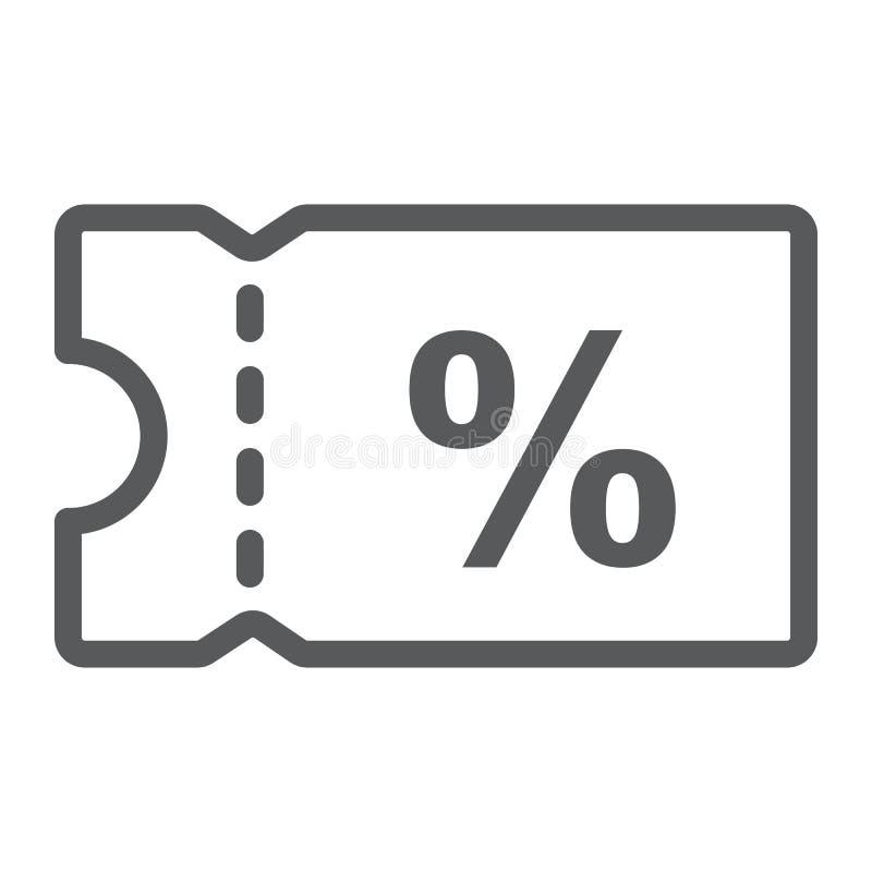 Rabatt-Kuponlinie Ikone, elektronischer Geschäftsverkehr stock abbildung
