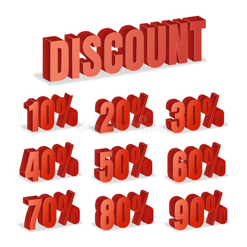 Rabatt nummeriert Vektor 3d Roter Verkaufs-Prozentsatz-Ikonen-Satz in der Art 3D lokalisiert auf weißem Hintergrund stock abbildung
