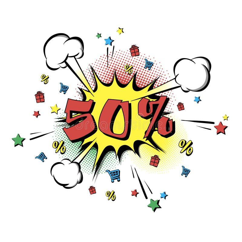 Rabatt 50 procent Retro stil för popkonst vektor illustrationer