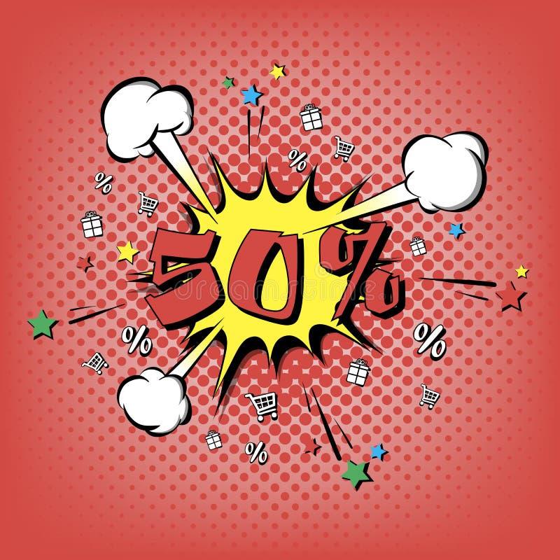 Rabatt 50 procent Retro stil för popkonst stock illustrationer
