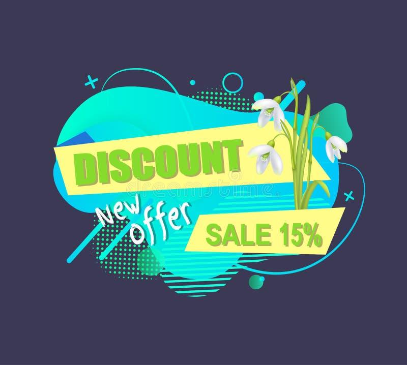Rabatt und Schneeglöckchen, Verkaufs-Emblem 15 Prozent heruntergesetzt vektor abbildung