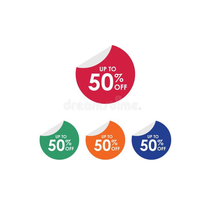 Rabatt upp till 50% av illustration f?r design f?r etikettvektormall royaltyfri illustrationer