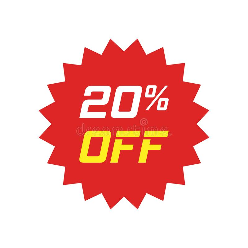 Rabattaufkleber-Vektorikone in der flachen Art Verkaufstag-Zeichen illust lizenzfreie abbildung