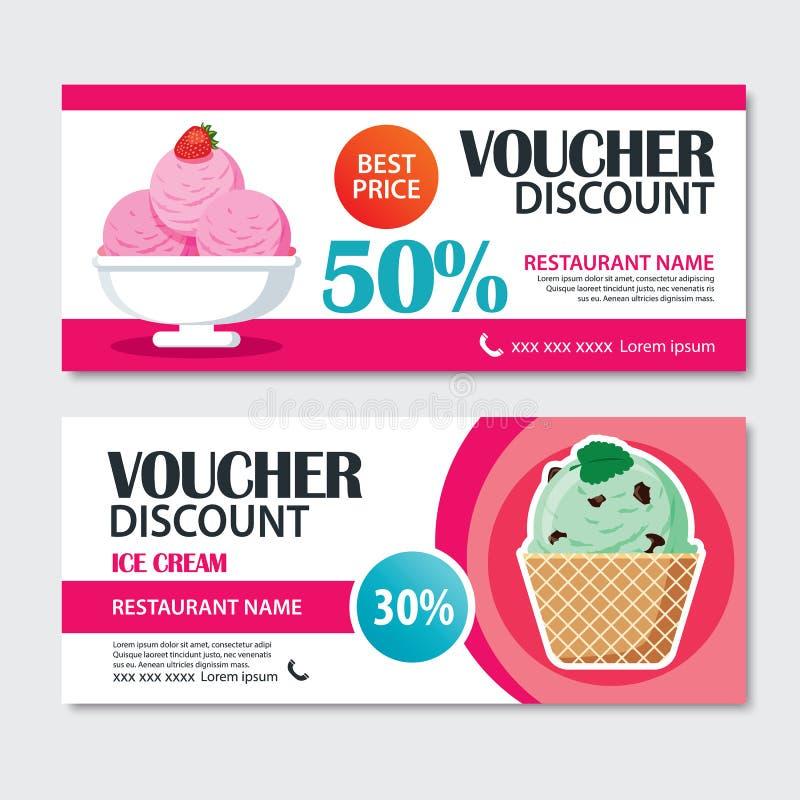Rabattbelegsatz Eiscreme-Schablonendesign stock abbildung