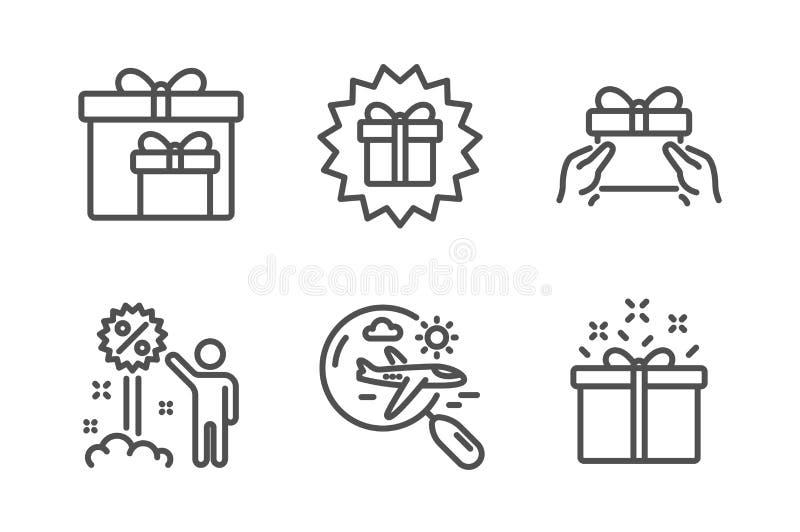 Rabatten överraskninggåva och ger den närvarande symbolsuppsättningen Sökandeflyg, leveransaskar och tecken för specialt erbjudan vektor illustrationer