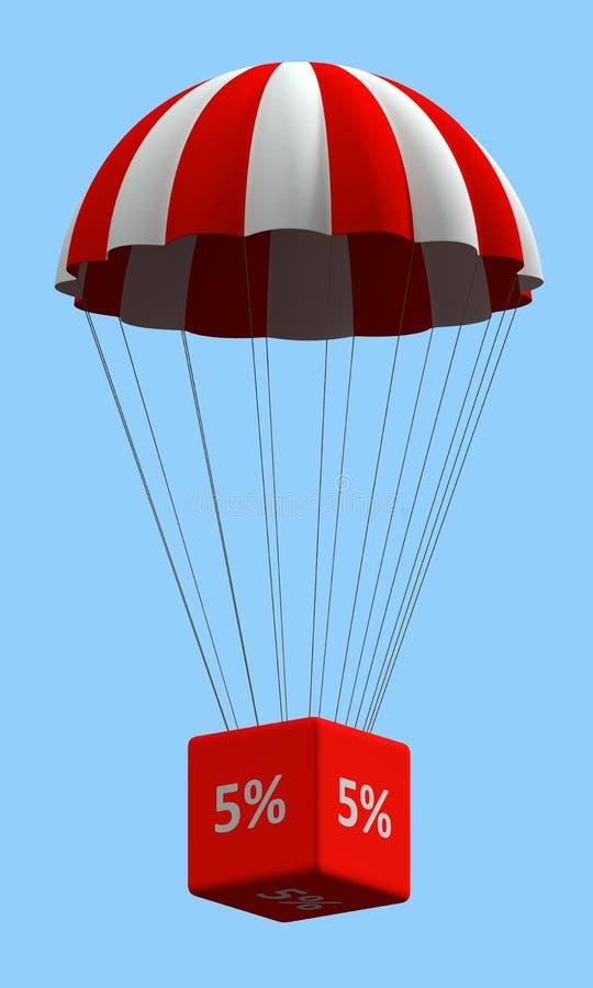 Rabatten hoppa fallskärm begrepp 5% stock illustrationer