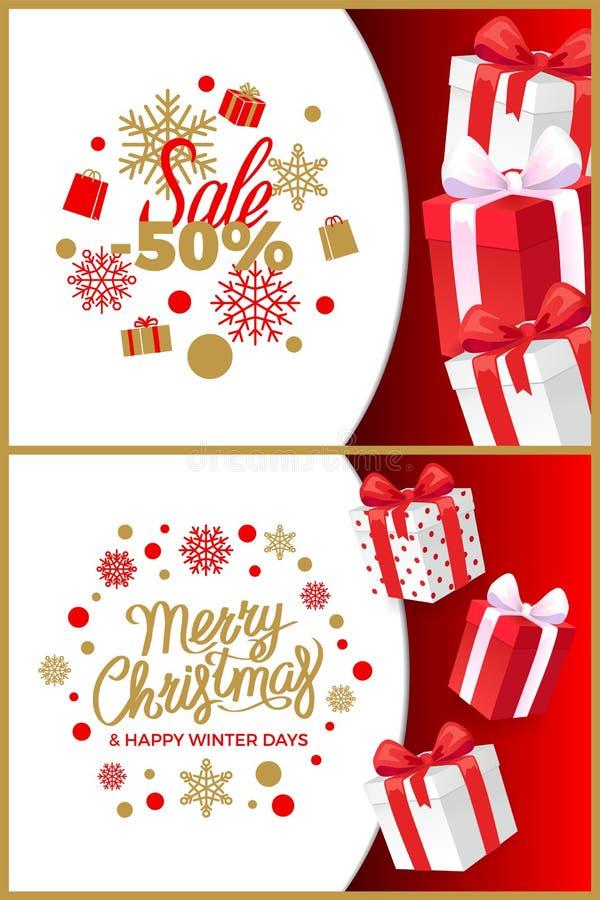 Rabatter för julSale vinter och närvarande askar stock illustrationer
