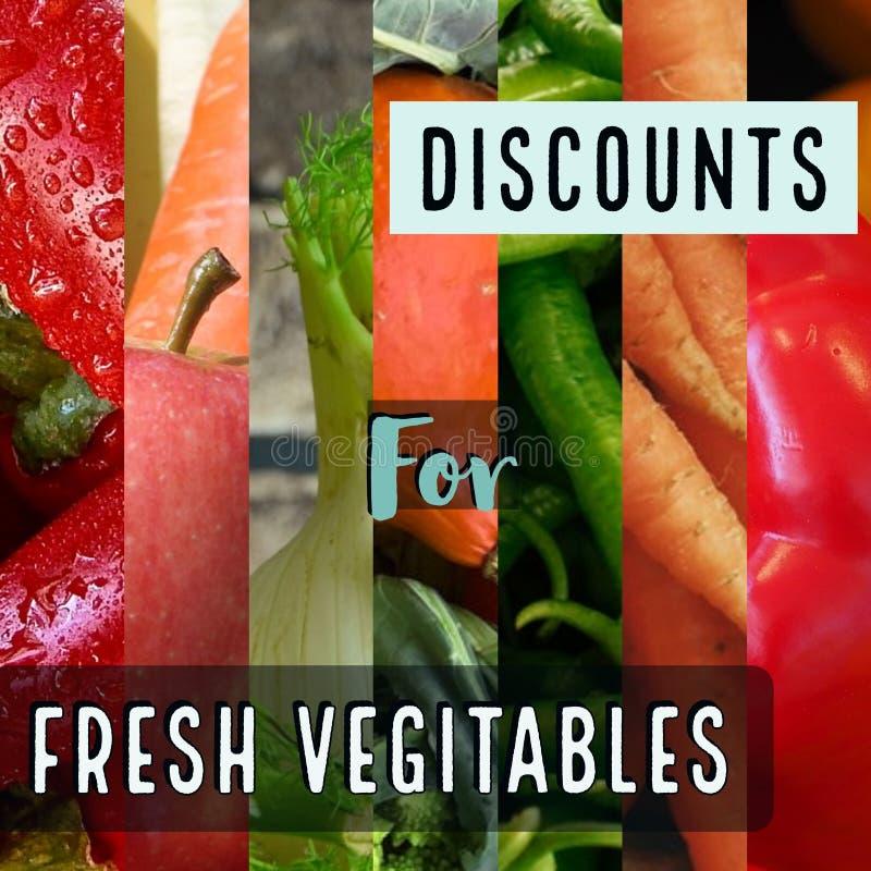 Rabatter för nya grönsaker royaltyfri foto