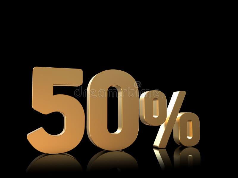 50% rabatterat pristecken, 3D tal, guld på svart vektor illustrationer