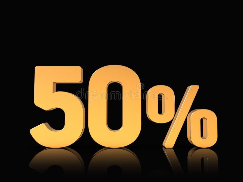 50% rabatterat pristecken, 3D tal, guld p? svart royaltyfri illustrationer
