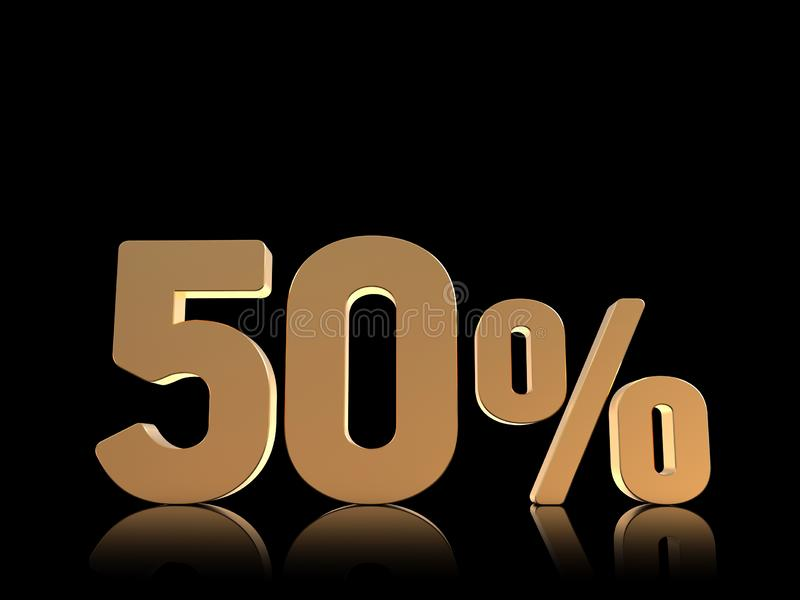 50% rabatterat pristecken, 3D tal, guld p? svart vektor illustrationer