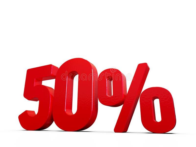 50% rabatterat pristecken, tal som 3D är röda på vit stock illustrationer