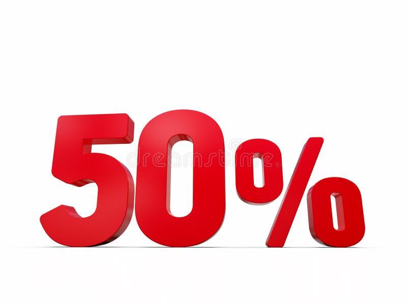 50% rabatterat pristecken, tal som 3D ?r r?da p? vit stock illustrationer