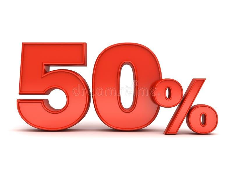 Rabattetikett för röda femtio procent eller för specialt erbjudande 50% stock illustrationer